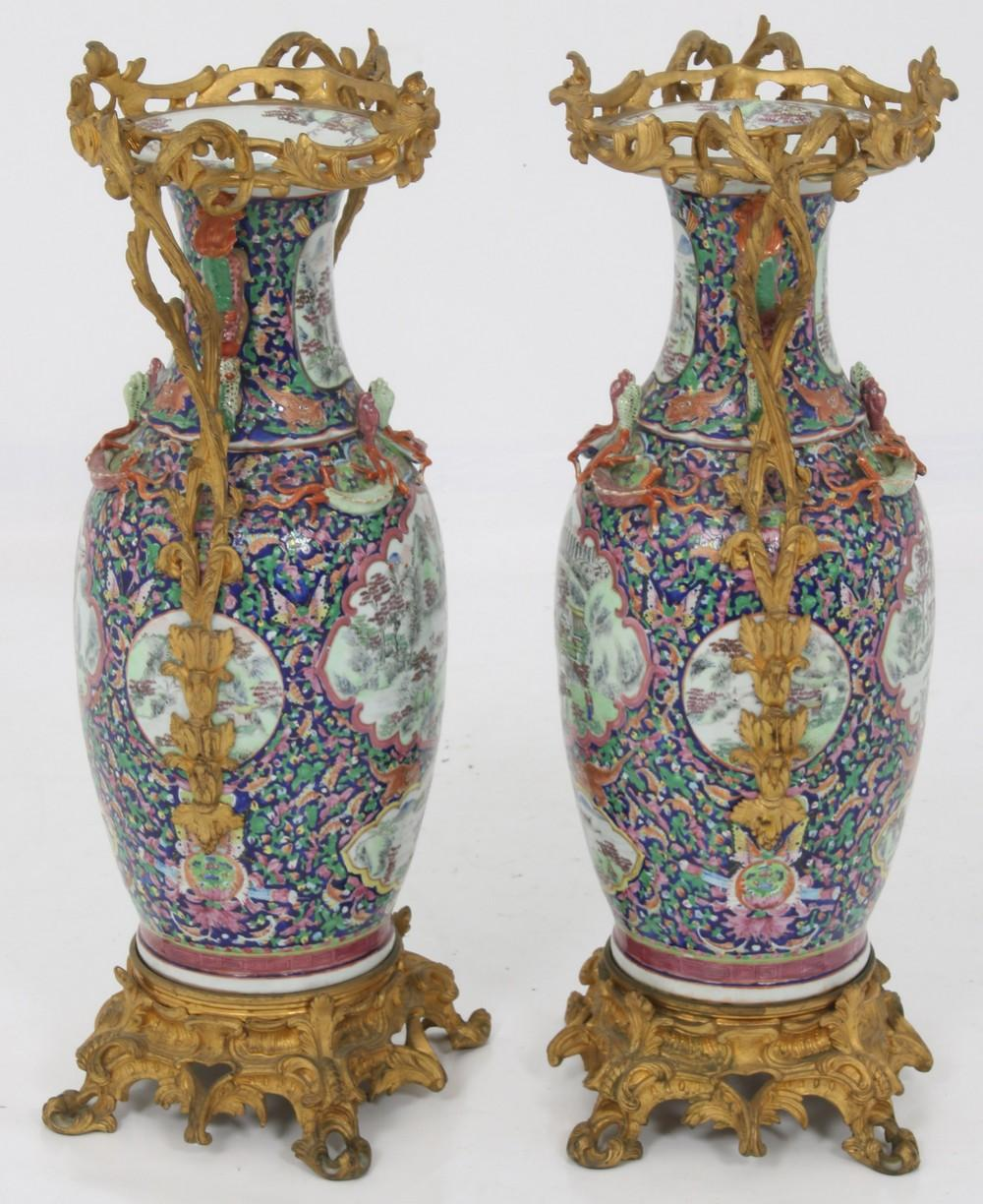 Pair of Large Chien Lung Porcelain & Bronze Vases