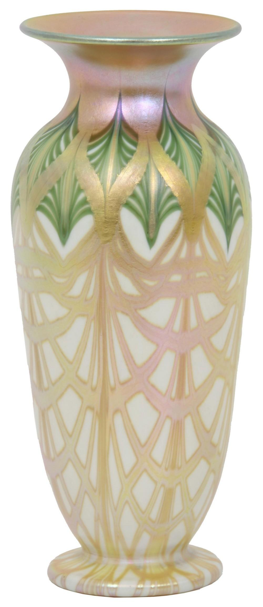Quezal Decorated Vase