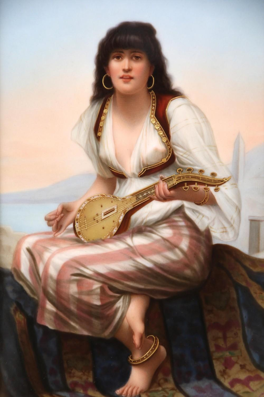 KPM Plaque of Zina Playing a Mandolin