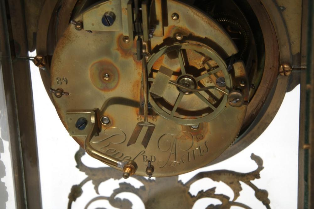French Bronze & Marble Crystal Regulator Clock