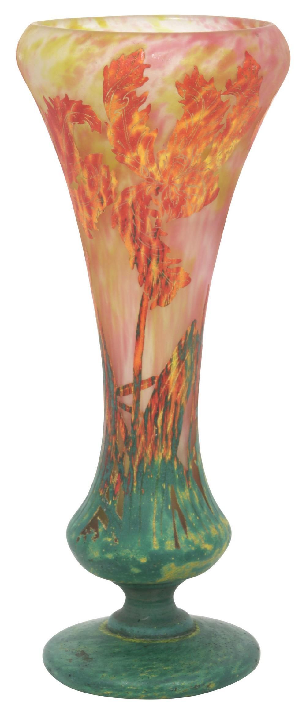Monumental Daum Nancy Parrot Tulip Vase