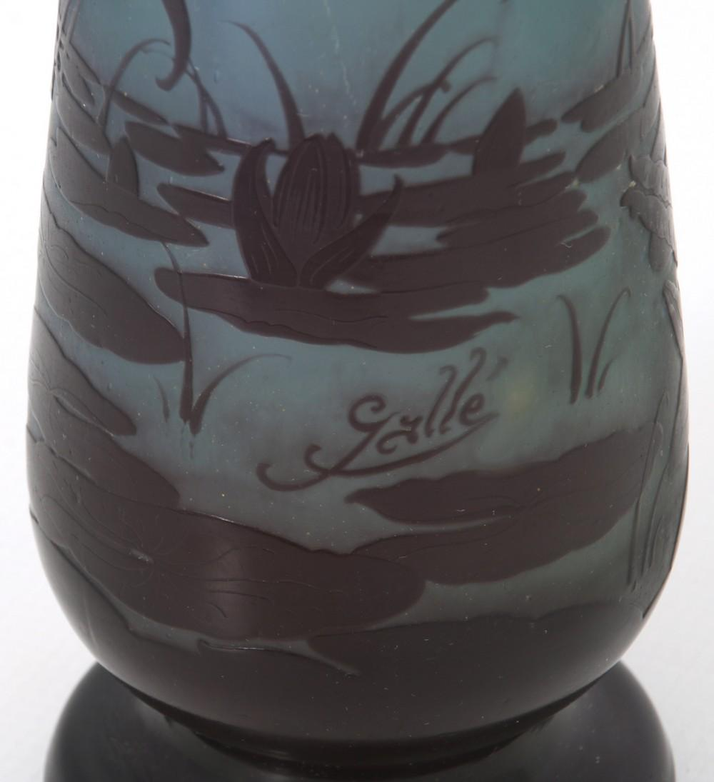 Gallé Cameo Glass Iris Vase