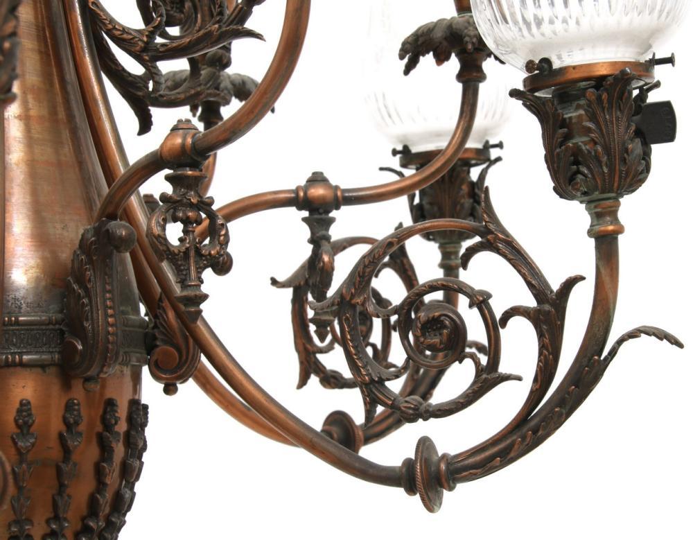 Twelve Arm Gas & Electric Chandelier