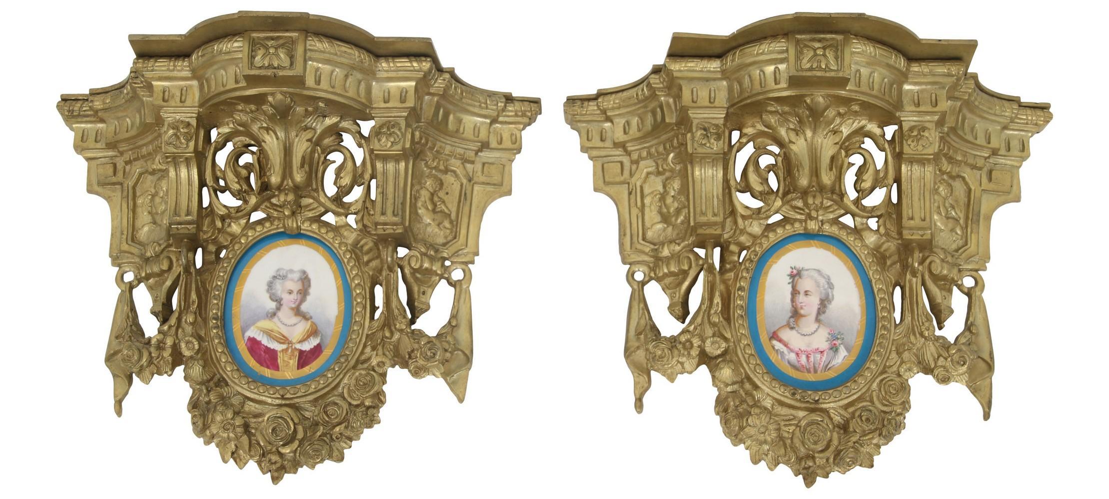 French Gilt Bronze & Porcelain Wall Shelves