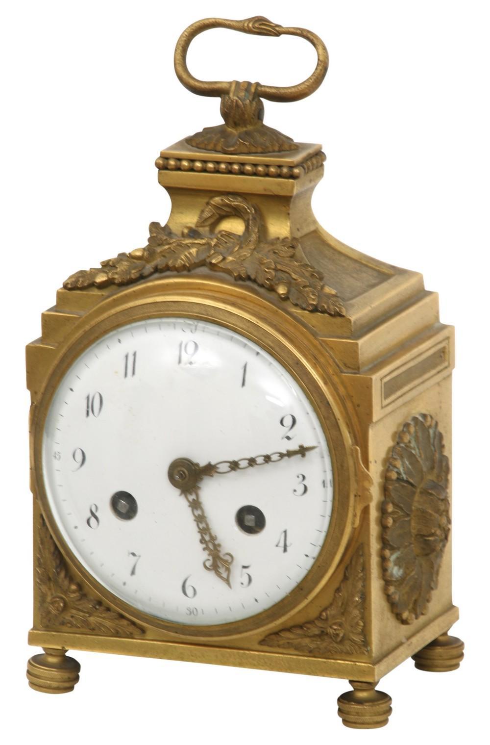 French Gilt Bronze Pendule d'Officer Clock
