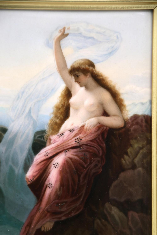 Porcelain Plaque of a Semi-Nude Woman