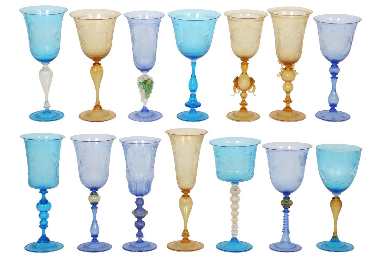 Lot of 14 Wheel Cut Venetian Goblets