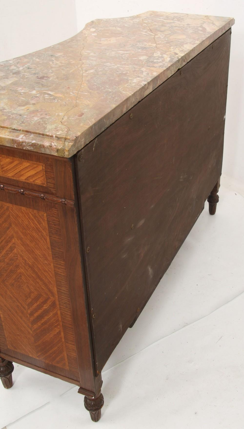 French Marquetry Inlaid Marble Top Server