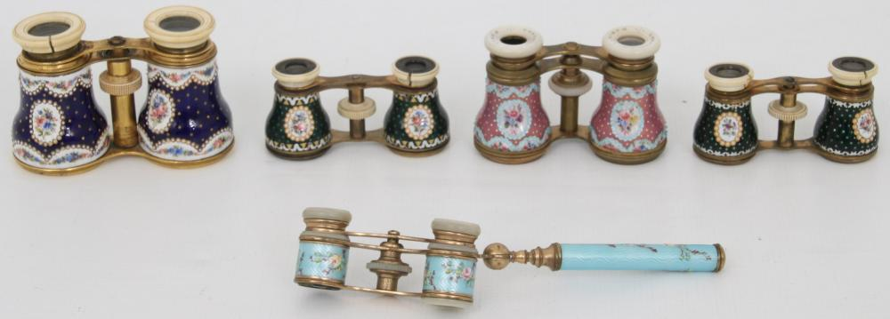 Lot of Five Enamel Opera Glasses