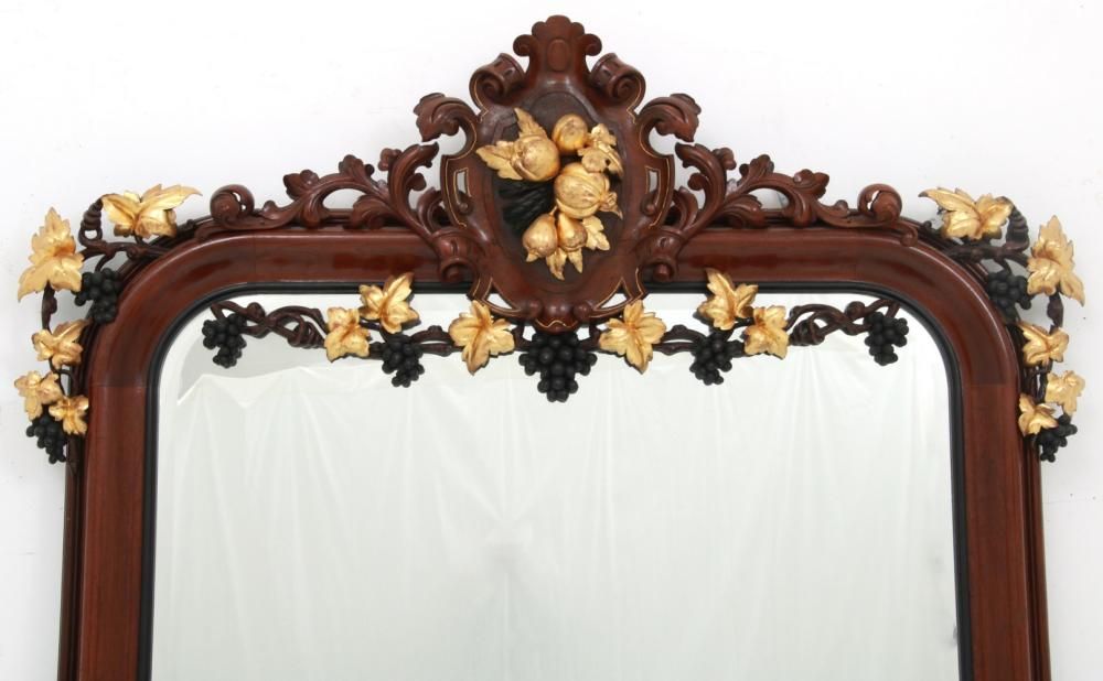 Walnut Victorian Over Mantle Mirror