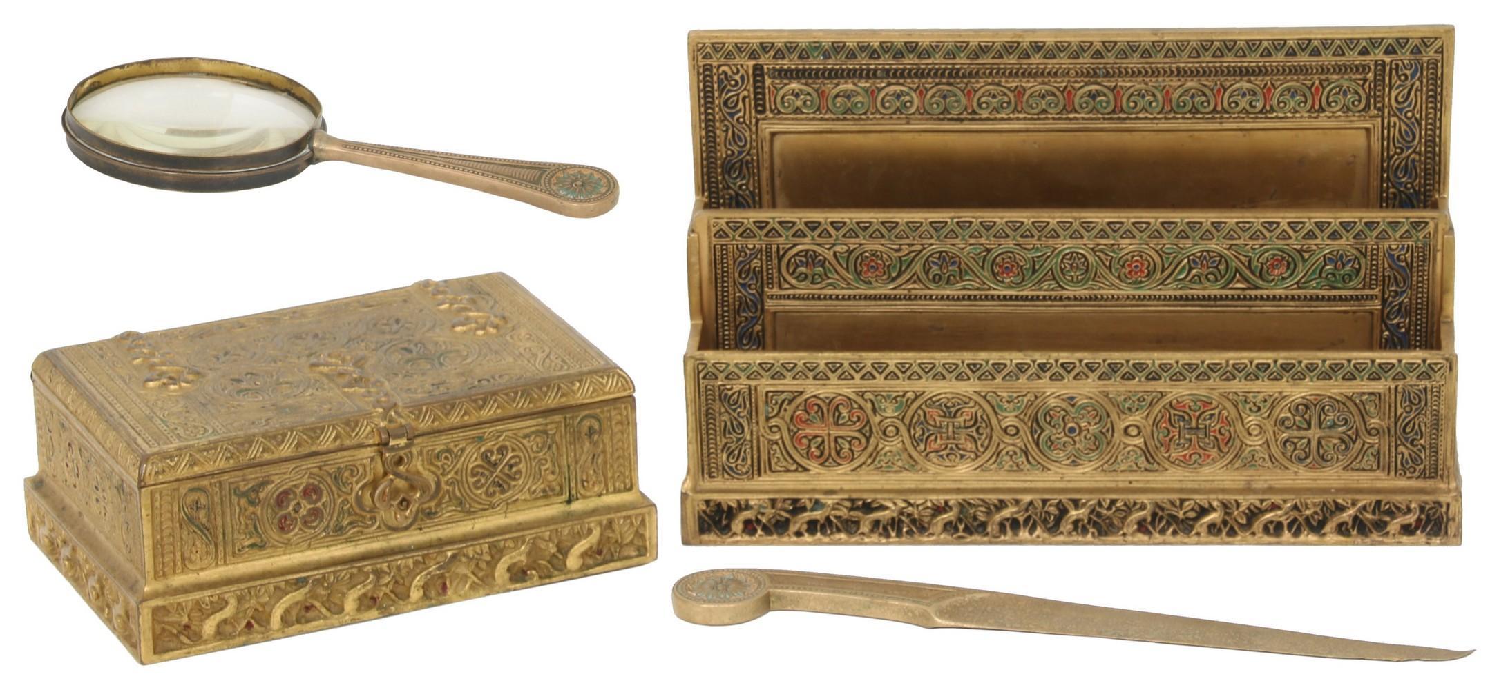 Four Tiffany Studios Dore Bronze Desk Pieces