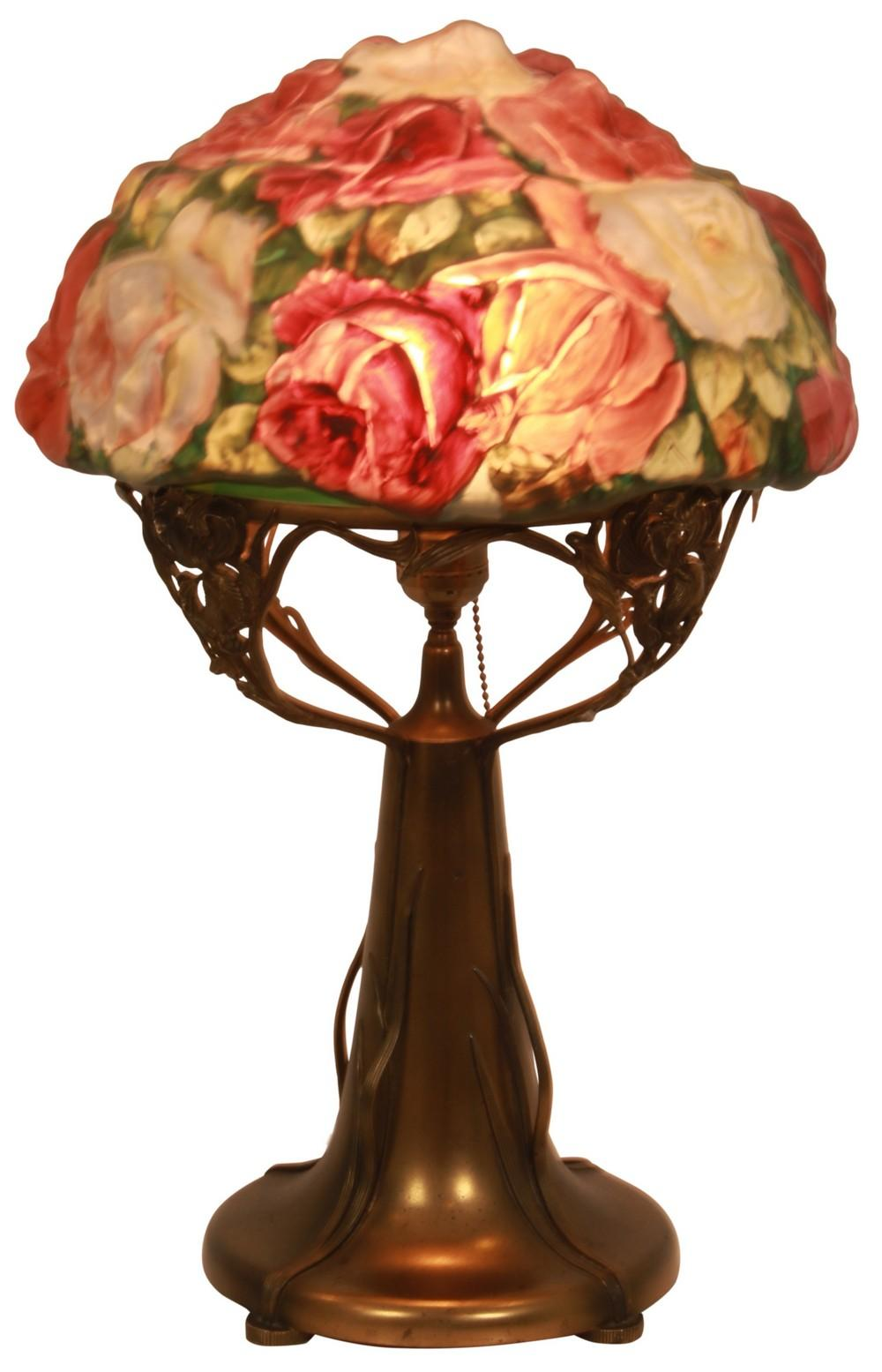 Pairpoint Puffy Three Color Rose Table Lamp