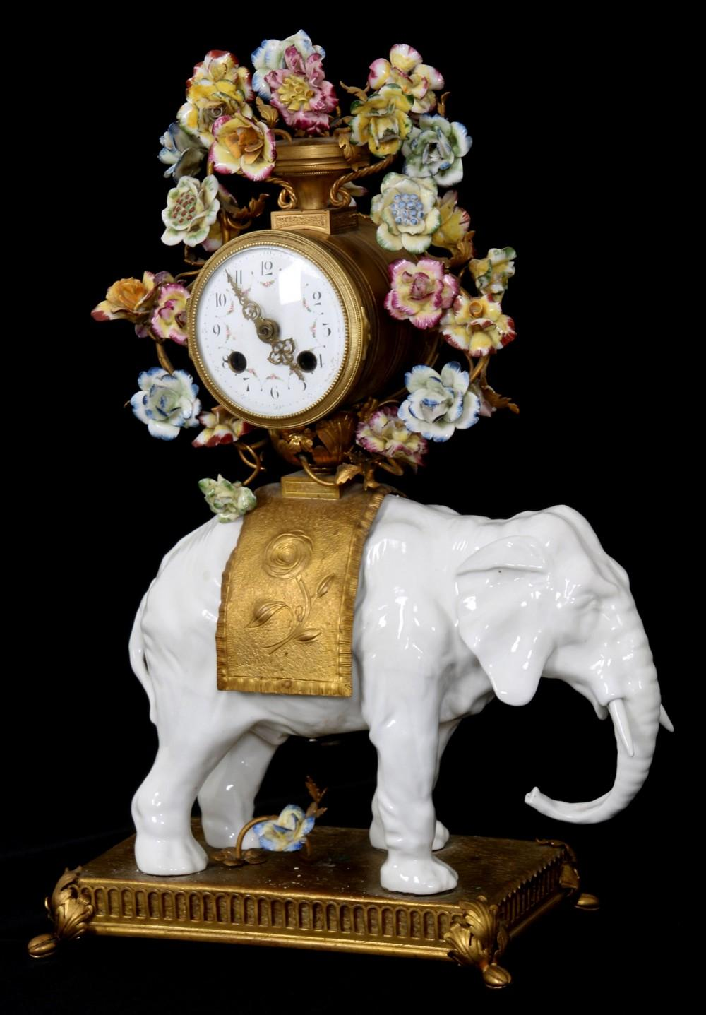 Porcelain & Bronze Elephant Clock
