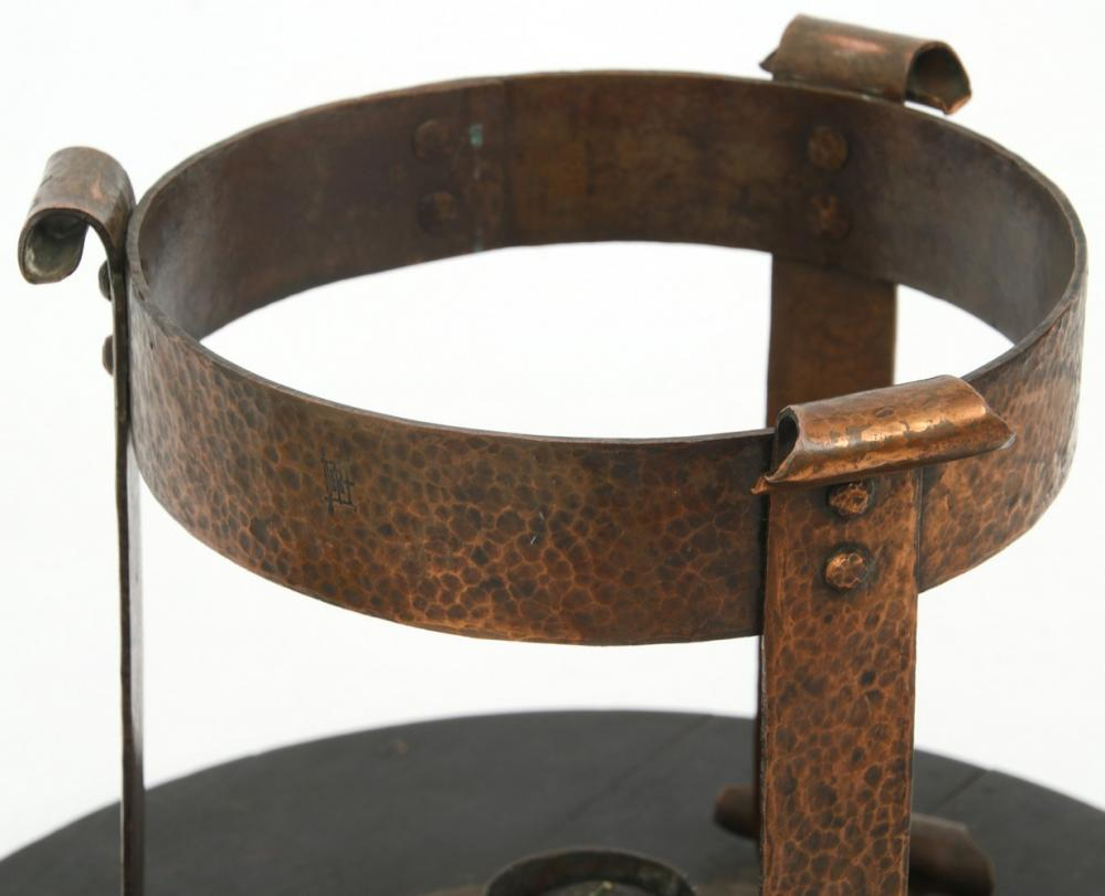 Charles Rohlfs Copper & Pottery Chafing Dish
