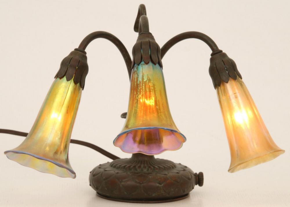 Tiffany Studios Three Light Lily Lamp