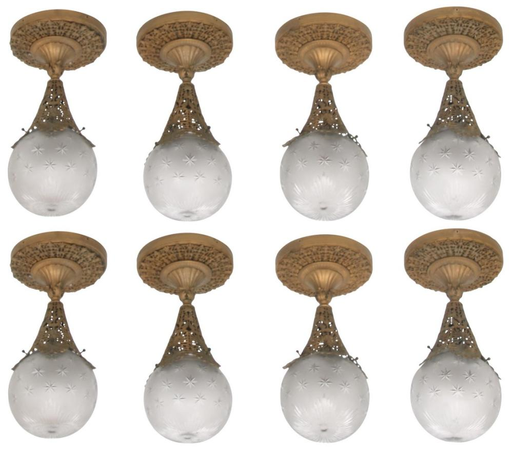 Set of Eight Brass Hanging Light Fixtures