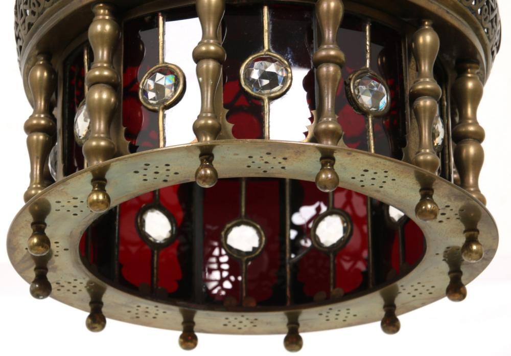 Moorish Style Jeweled Brass Hall Lamp