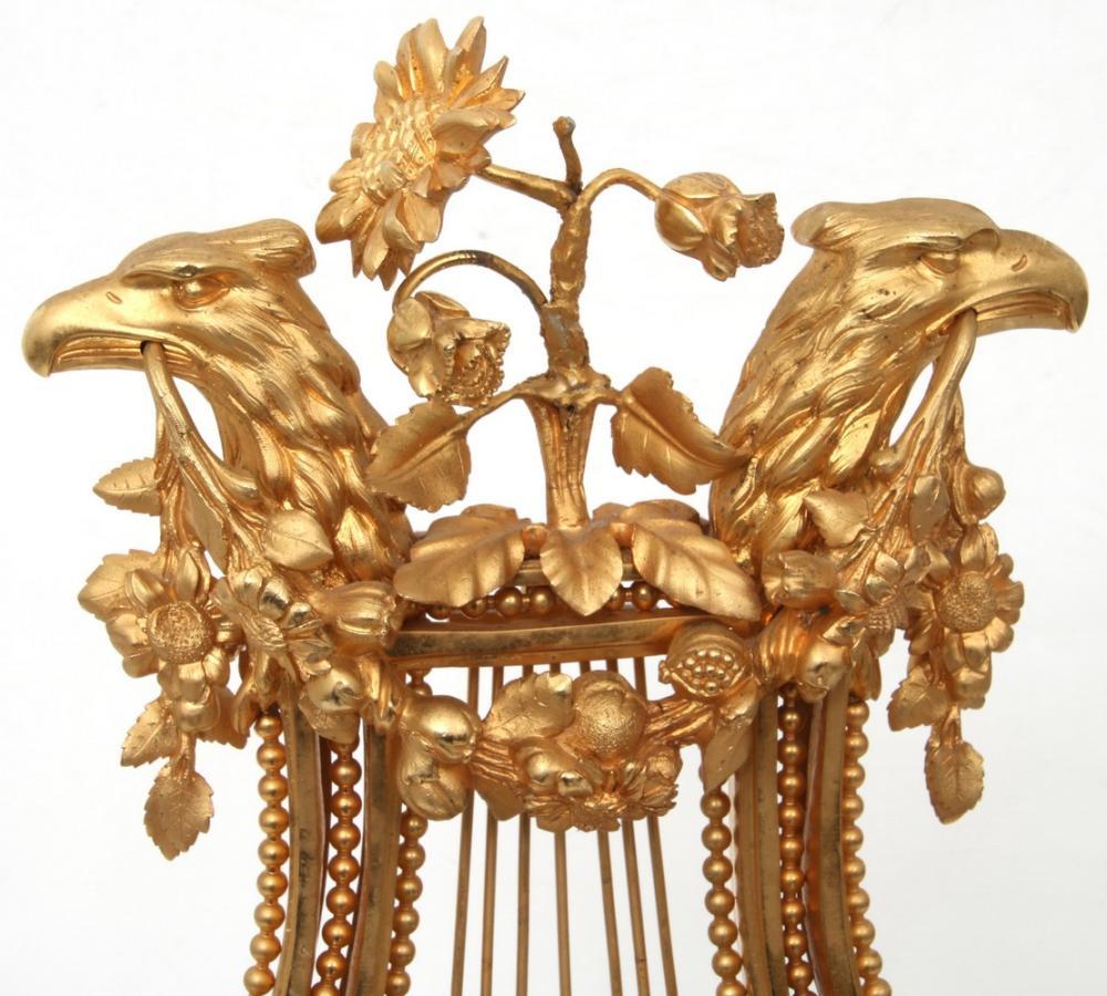 French Bronze & Alabaster Lyre Clock