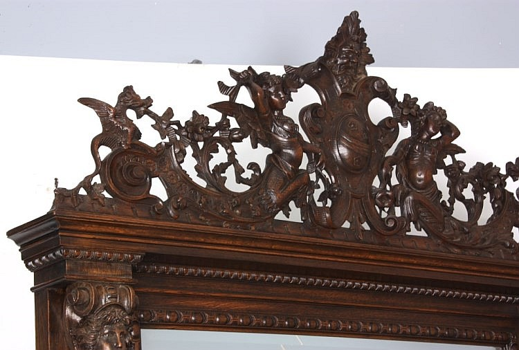 R.J. Horner Figural Carved Oak Hall Bench