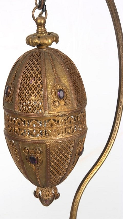 Pr. Brass Moorish Style Side Lamps