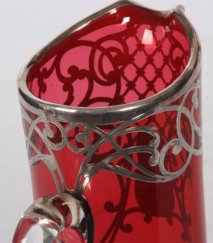 Cranberry & Sterling Overlay Pitcher