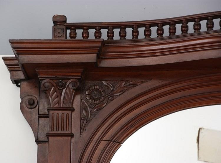 Massive Walnut Renaissance Fireplace Mantle