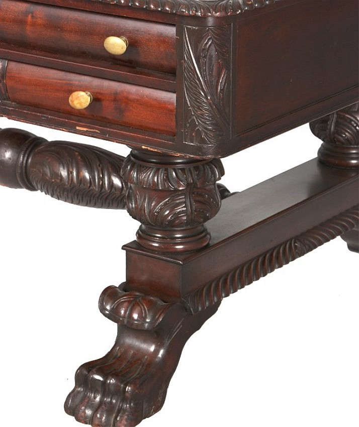 Acanthus Carved Mahogany Partner's Desk