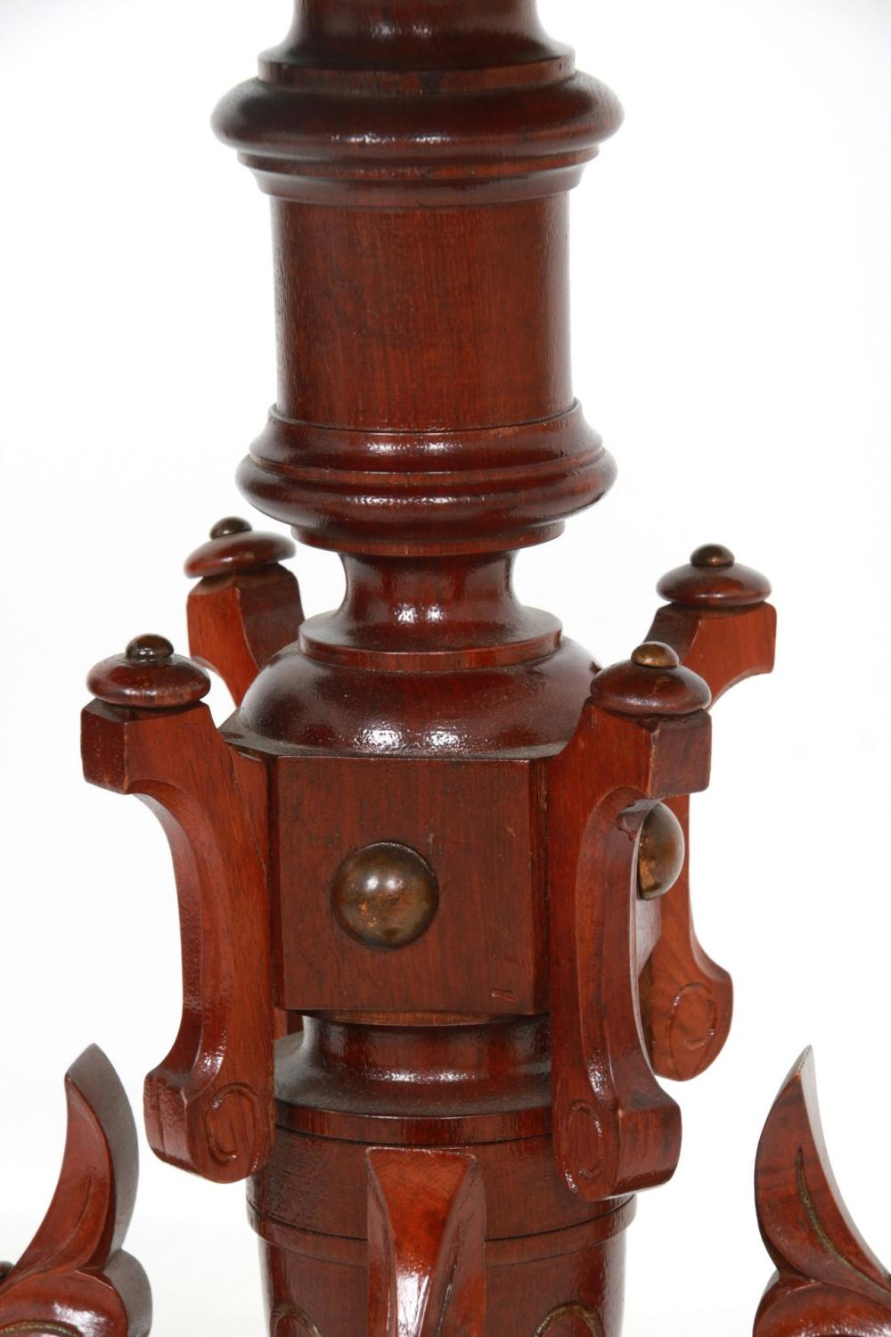 Carved Walnut Inlaid Plant Stand