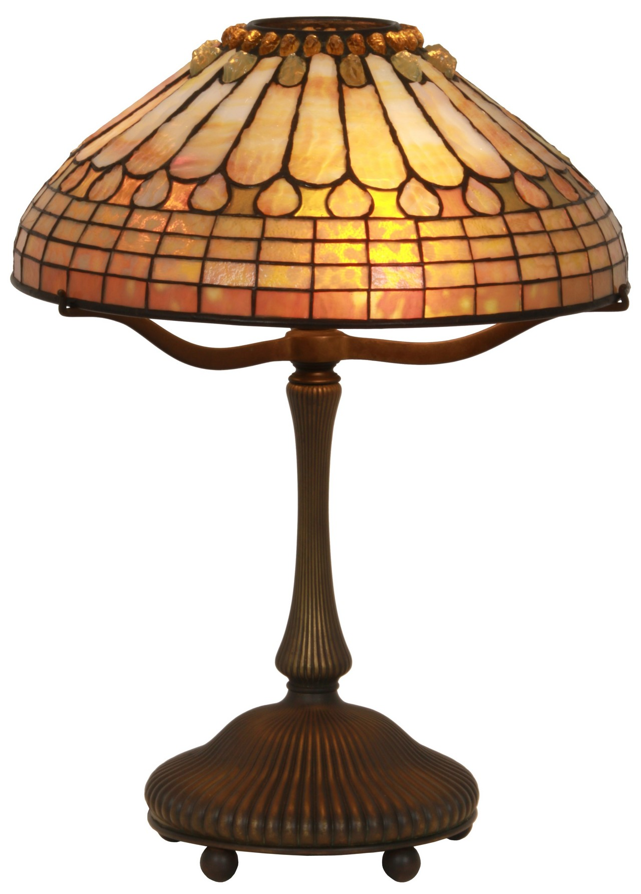 16 in. Tiffany Jeweled Feather Table Lamp