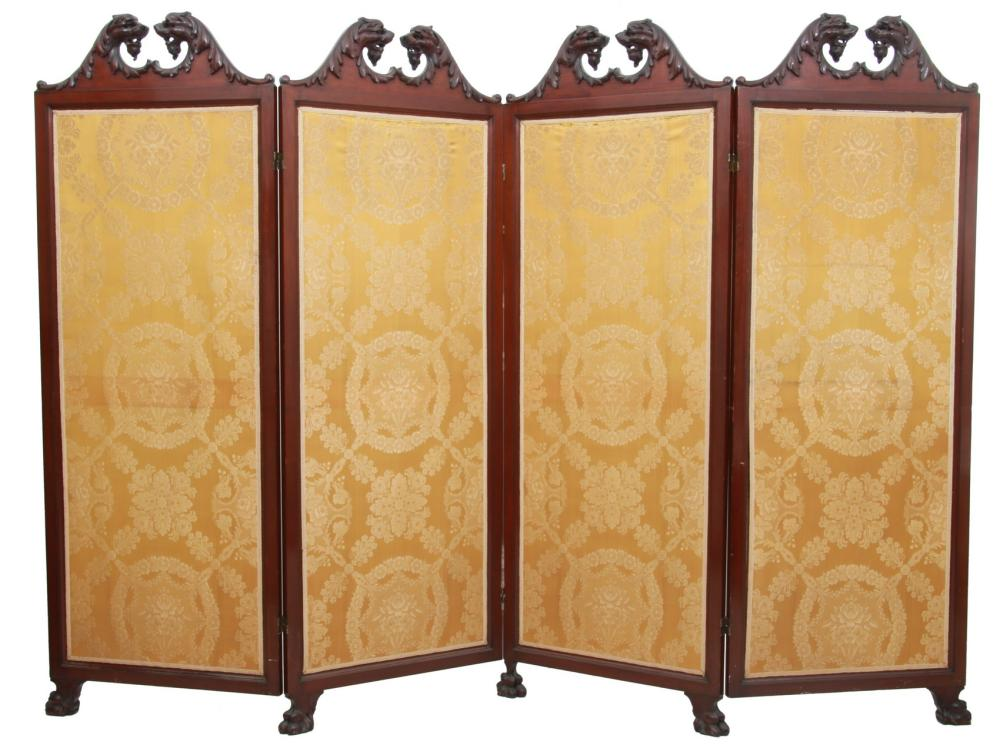 Griffin Carved Mahogany Dressing Screen