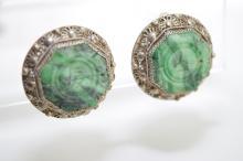 Qing Chinese Silver Jadeite Inlaid Earrings