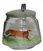 Mini 1/8 L. Enamel Running Fox Glass Stein
