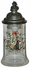 1/4 L. Enamel Munich Child Glass Stein