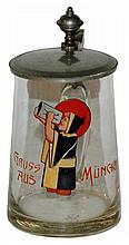 Enamel Munich Child 1/4 L. Glass Stein