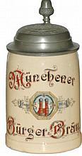 Munchener Burger Brau Brewery Stein w Matching Lid