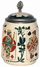 Playing Cards Stoneware Etched Stein w Inlay Lid