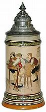 HR #410 Guitar & Table Scene Etched Stein