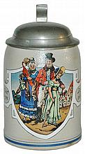 Stoneware Stein of Well Dressed Family