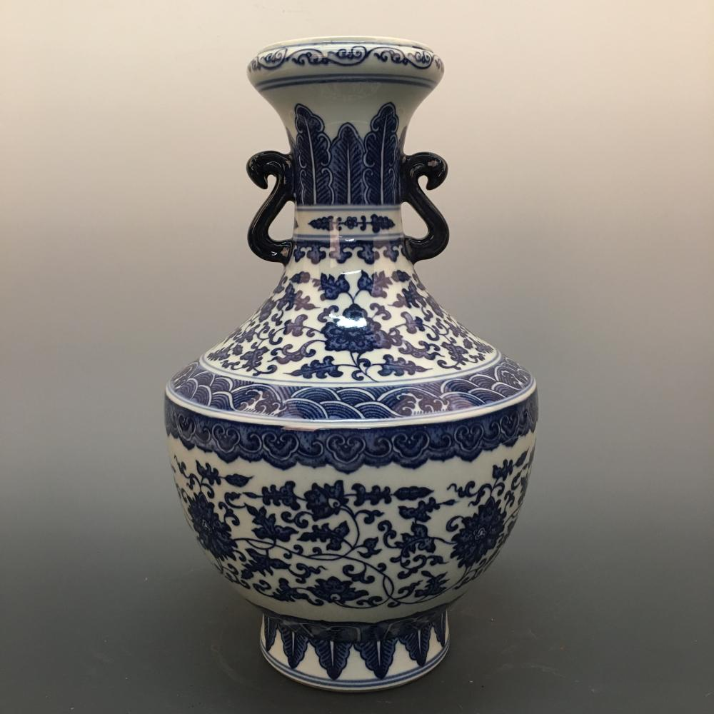 Chinese Blue-White 'Floral' Vase, Qianlong Mark