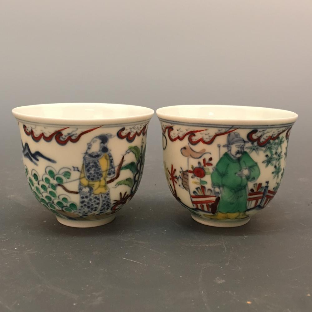 Chinese Chenghua Porcelain Cups Pair