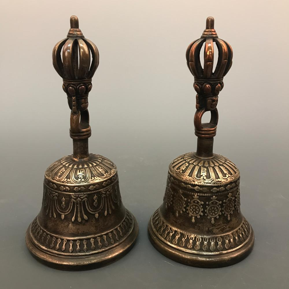 A Pair of Bronze Chinese Buddhism Ritual Bells