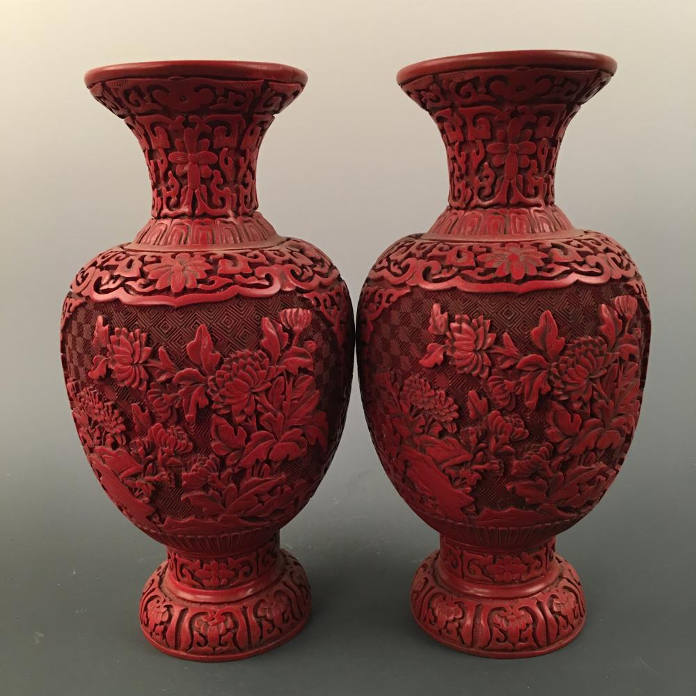 Chinese Carved Lacquerware Vase Pair, Qianlong Mark