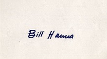 HANNA, BILL. Album Page Signed - (APS)