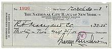 GERSHWIN, GEORGE & IRA COL A National City Bank of New York cheque signed by...