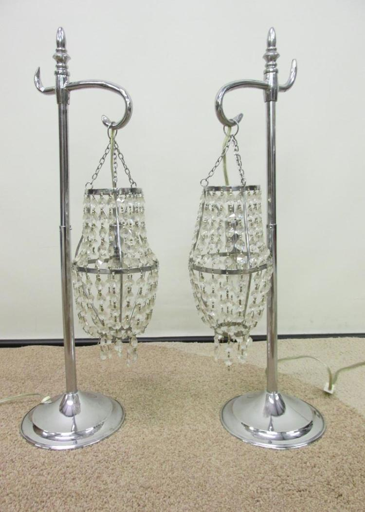 Pair Of Crystal Prism Pendant Table Lamps