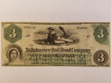 RARE - 1850'S TALLAHASSEE RAILROAD COMPANY $3 NOTE
