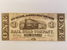 1861 NEW ORLEANS, JACKSON, GREAT NORTHERN RAILROAD CO. NOTE