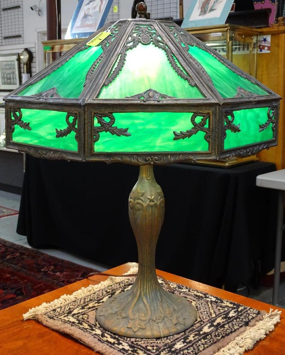 CONTEMPORARY SLAG GLASS PANEL LAMP