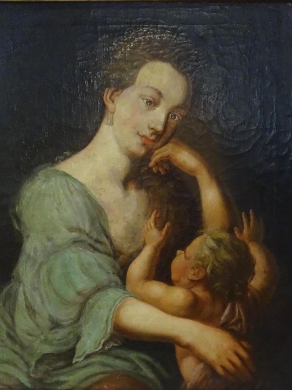 19TH C. PAINTING OF MADONNA WITH CHILD