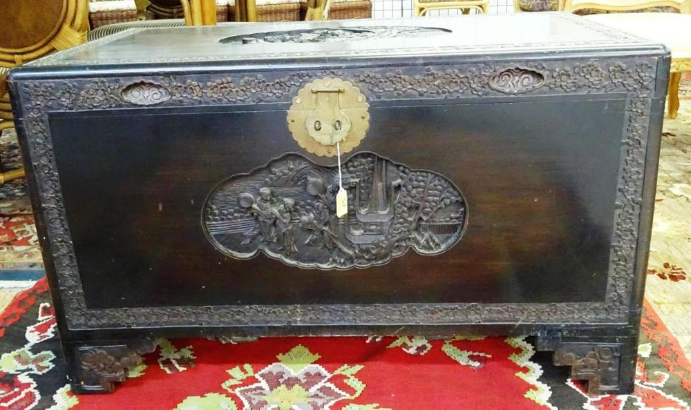 MID-CENTURY CHINESE CARVED TRUNK